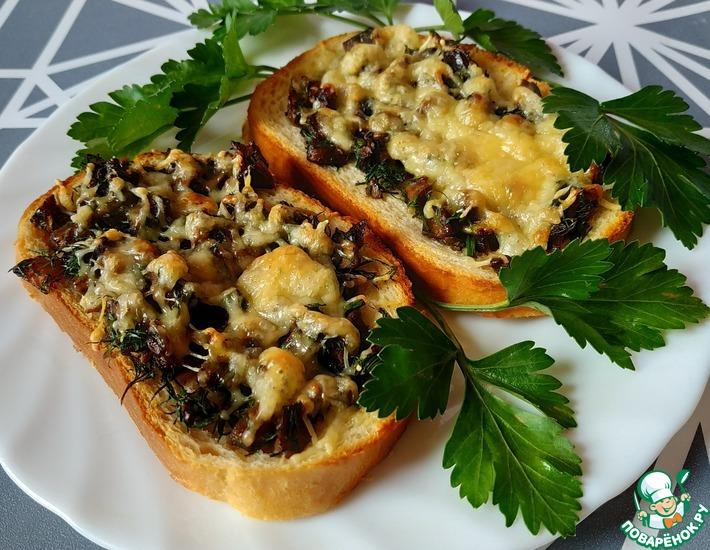 Рецепт: Горячие бутерброды с грибами и зеленью