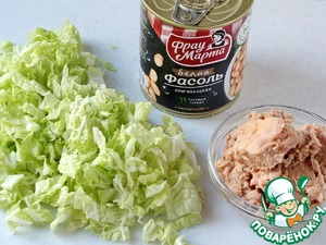 Салат из фасоли, тунца и капусты фото