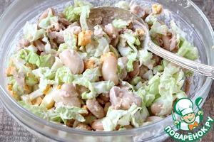 Салат из фасоли, тунца и капусты Фасоль консервированная