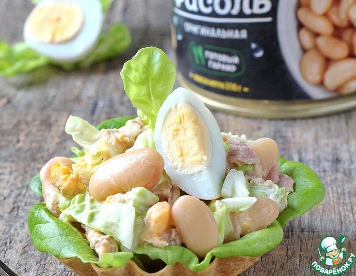 Рецепт: Салат из фасоли, тунца и капусты