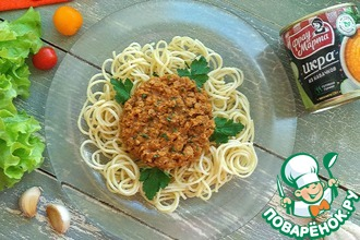 Рецепт: Спагетти с соусом из кабачковой икры