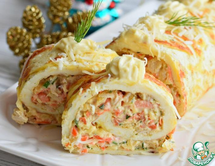 Рецепт: Рулет яичный с сыром и морковью