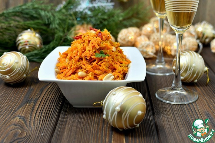 Острый салат из моркови с арахисом