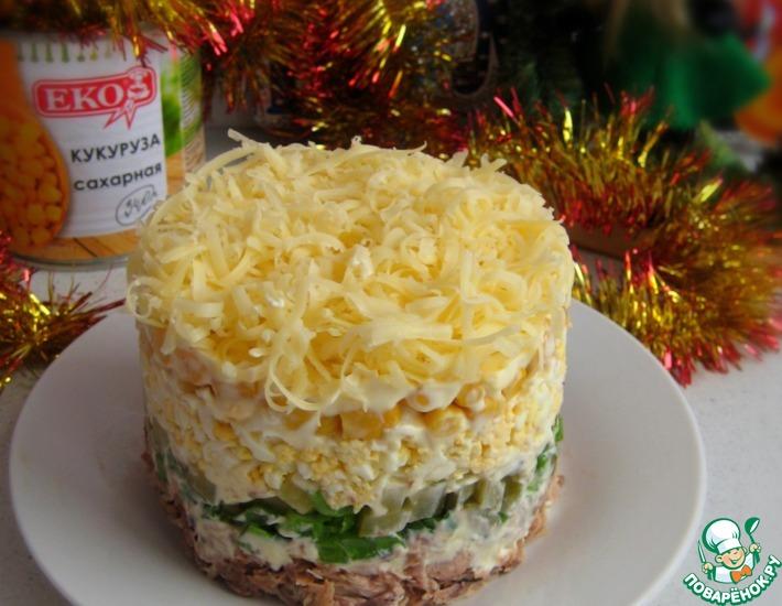 Рецепт: Слоеный салат с тунцом