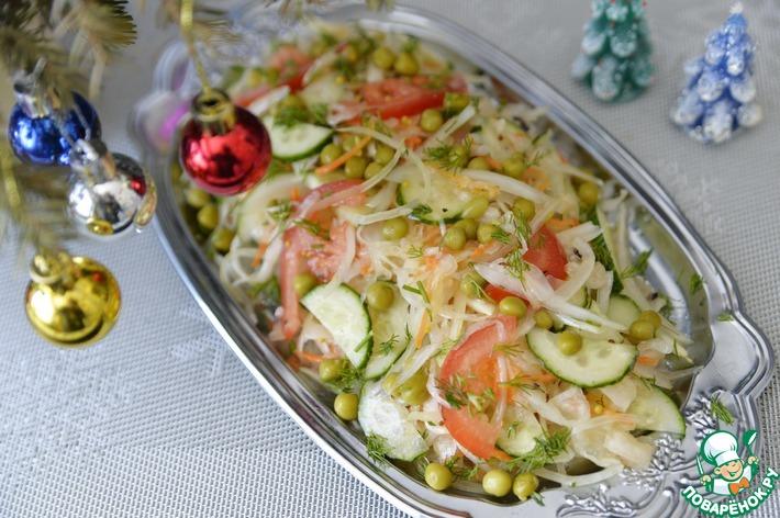 Салат из квашеной капусты с медовой заправкой