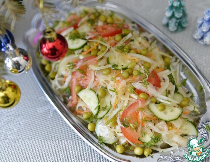 Рецепт: Салат из квашеной капусты с медовой заправкой