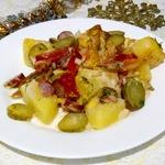 Запеченные овощи с охотничьими колбасками