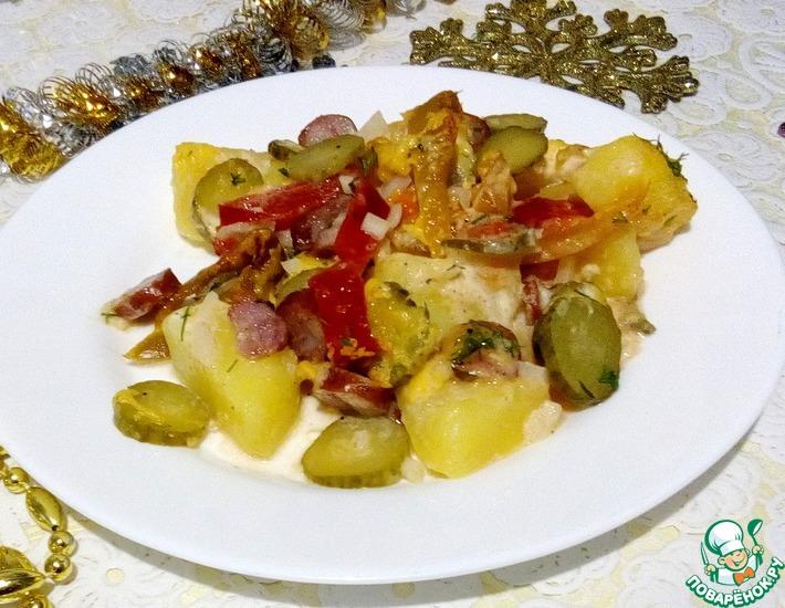 Рецепт: Запеченные овощи с охотничьими колбасками