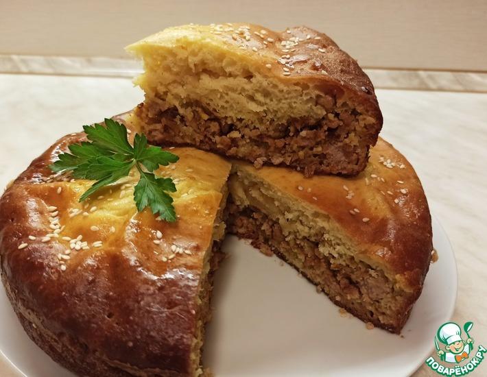Рецепт: Пирог заливной на кефире с фаршем