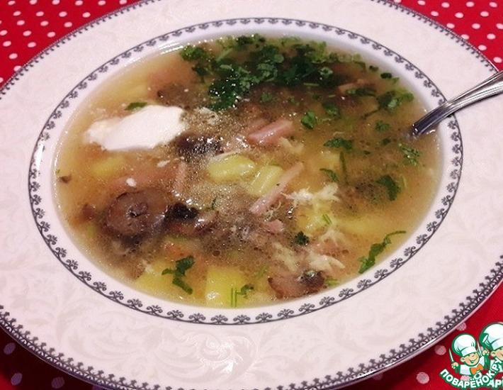 Сырный суп с ветчиной и шампиньонами