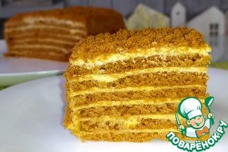 Рецепт: Ленивый торт Медовик с карамельным вкусом