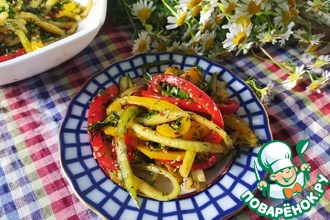 Рецепт: Салат из огурцов и сладкого перца