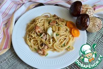 Рецепт: Спагетти с белыми грибами в сливках