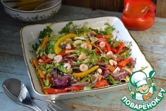 Рецепт: Салат из запеченных овощей и креветок