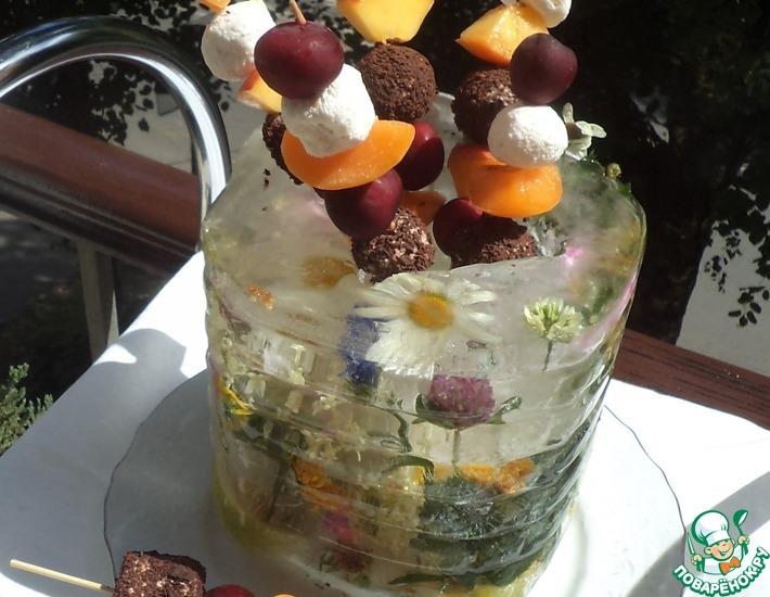 Рецепт: Шашлычки Шоколадная сказка в ледяной вазе