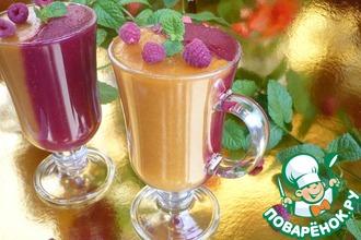 Рецепт: Десерт малина-абрикос на агар-агаре