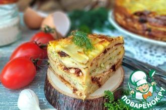 Рецепт: Блинный пирог с укропом и томатами
