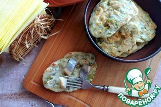 Рецепт: Простейшие лепёшки с зеленью на сковороде