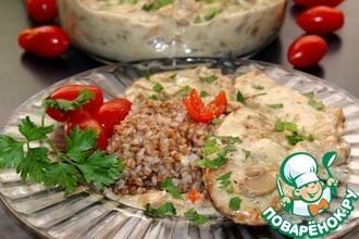 Рецепт: Корейка в сливочно-грибном соусе