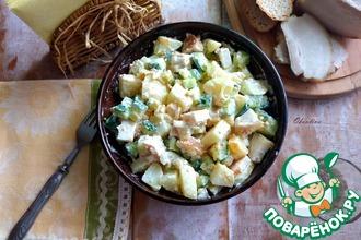 Рецепт: Картофельный салат с салом и огурцом