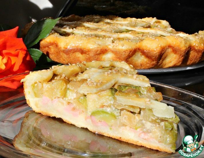Рецепт: Пирог с кабачками на творожном тесте