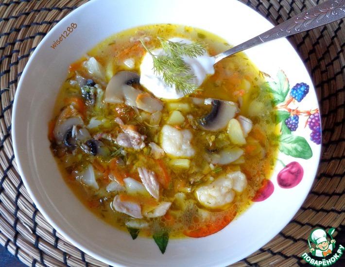 Рецепт: Суп грибной с цветной капустой