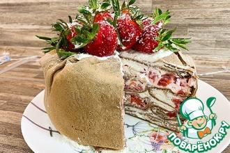 Рецепт: Блинный торт со сливочным кремом