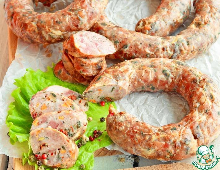 Рецепт: Свиная колбаса с сушеными овощами
