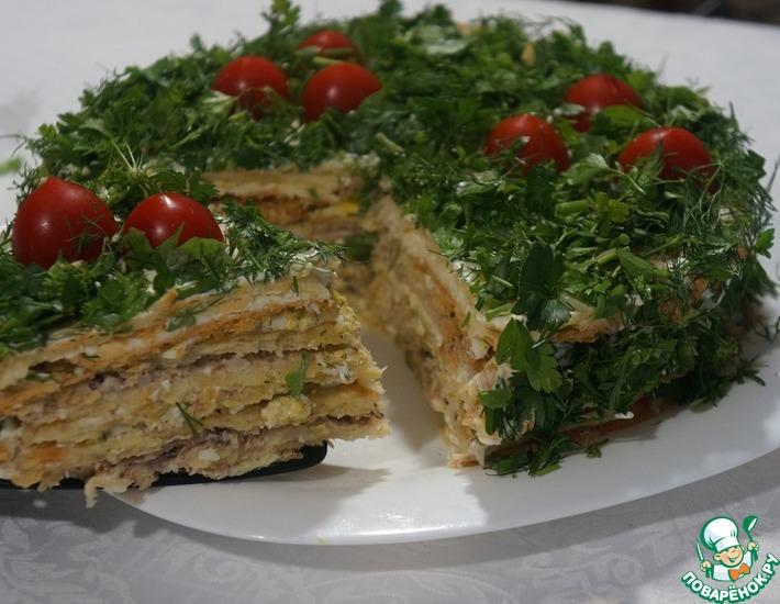 Рецепт: Закусочный торт с тремя видами начинки