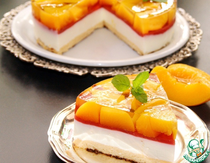 Рецепт: Холодный чизкейк с персиковым желе
