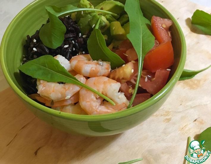 Рецепт: Боул с креветками, авокадо и чёрным рисом