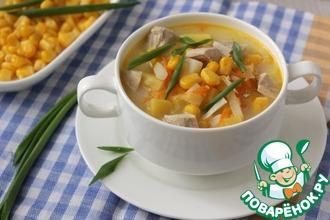 Рецепт: Сырный суп с кукурузой