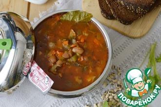 Рецепт: Постный рассольник с фасолью и грибами