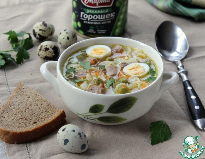 Рецепт: Суп с индейкой и зеленым горошком