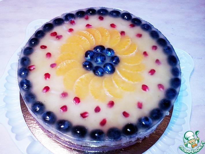 Торт постный клубнично-ананасовый
