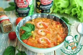 Рецепт: Суп с фунчозой и креветками