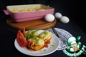 Рецепт: Запеченные фаршированные яйца