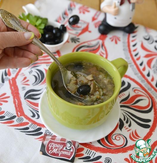 Постный гречневый суп с грибами