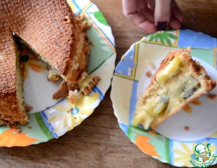 Рецепт: Кокосовый бисквит из цельнозерновой муки с киви