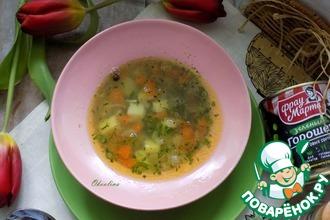 Рецепт: Постный вермишелевый суп с горошком