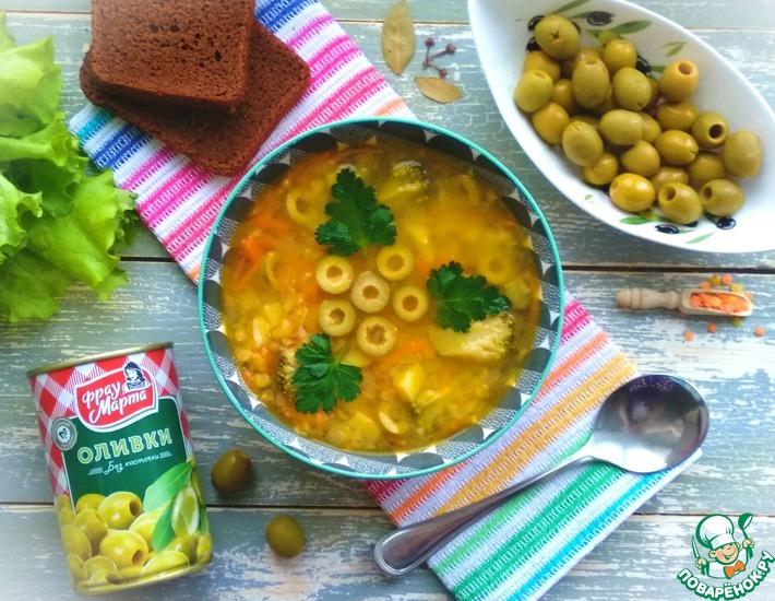 Рецепт: Суп с чечевицей и оливками