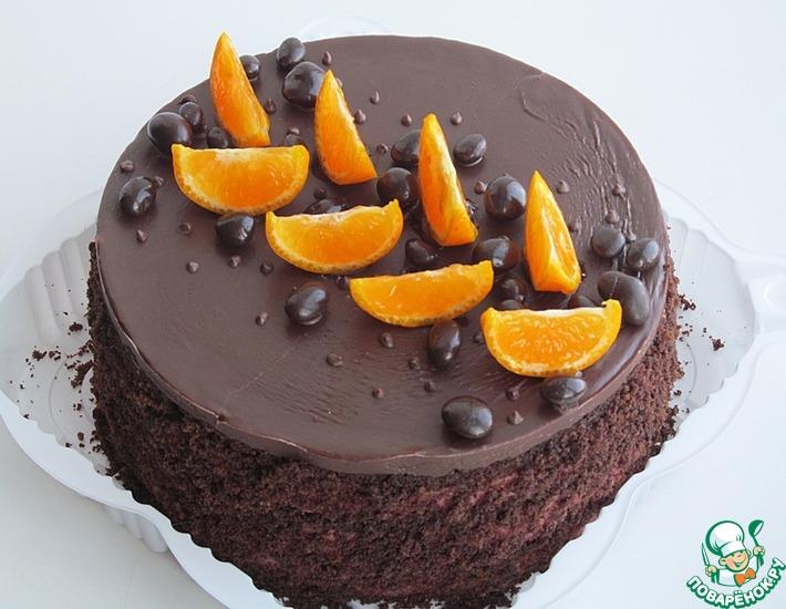 Рецепт: Постный шоколадно-малиновый торт