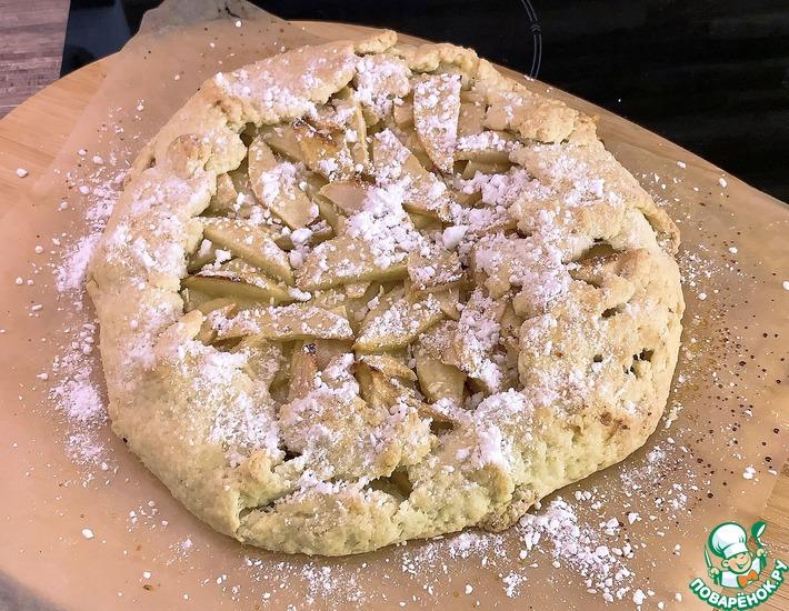 Рецепт: Постный открытый пирог с яблоками