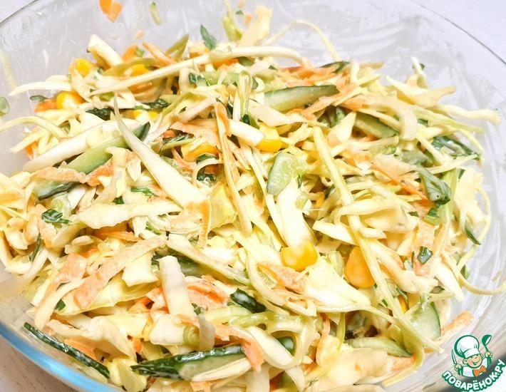 Рецепт: Салат из капусты и моркови с майонезом