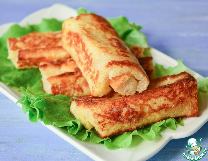 Рецепт: Рулетики с сыром из хлеба