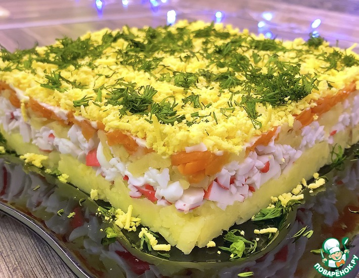 Рецепт: Салат с крабовыми палочками без кукурузы