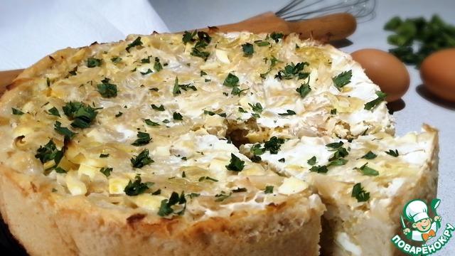 Открытый пирог с капустой и яйцом