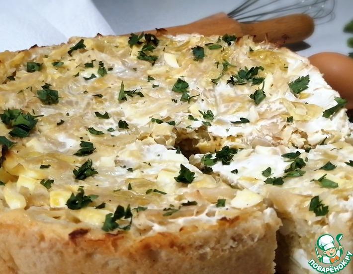 Рецепт: Открытый пирог с капустой и яйцом