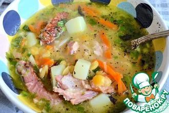 Рецепт: Суп гороховый с копчеными ребрышками
