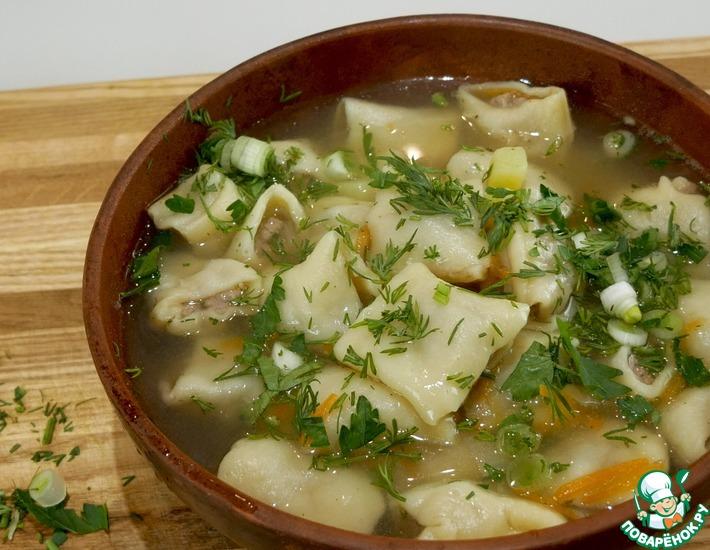 Рецепт: Бабушкин суп с ленивыми пельменями
